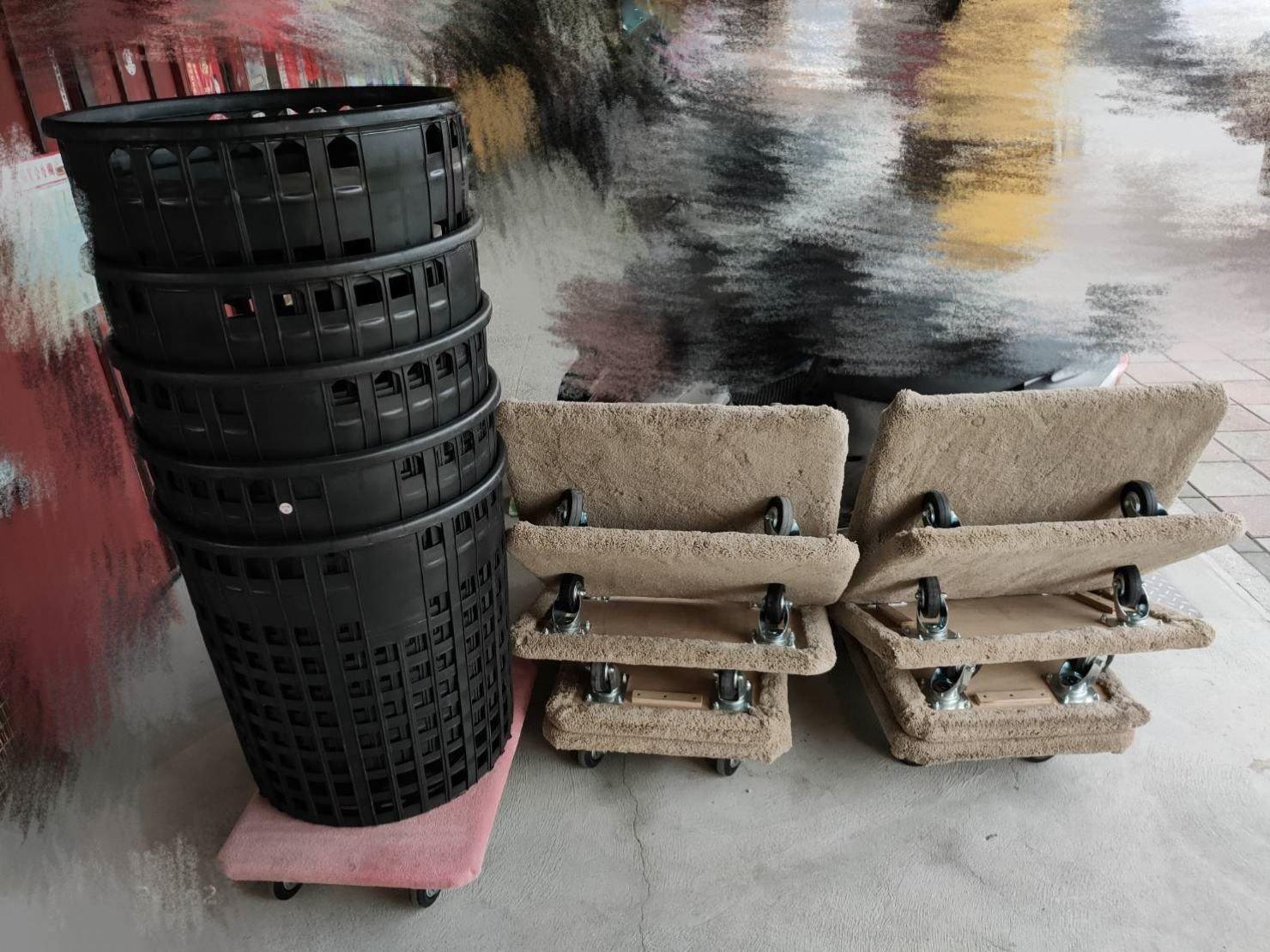 蔞子裝載顧客小家電、小物品及其他雜物;板車便利幫顧客搬運家具及物品、電器使物品平穩安全搬運。